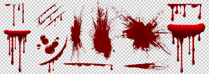 Photo sur Plexiglas Forme Realistic Halloween blood isolated on transparent background. Blood Drops and splashes. Can be used on halloween design, medical, healthcare, flyers, banners or web. Vector blood illustration. EPS 10.