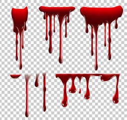 Realistic Halloween blood isolated on transparent background. Blood Drops and splashes. Can be used on halloween design, medical, healthcare, flyers, banners or web. Vector blood illustration. EPS 10.