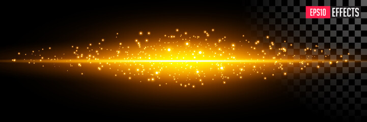 Creative Vector Illustration of Abstract Lighting Flare. Element Gold Light with Lens Effect. Concept Graphic Element.