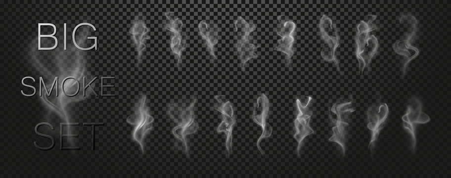 Big smoke vector set collection isolated on transparent background. Realistic white grey steam waves from tea, fire, cigarettes. Decorative vapor air nature effect. Vector illustration. EPS 10.