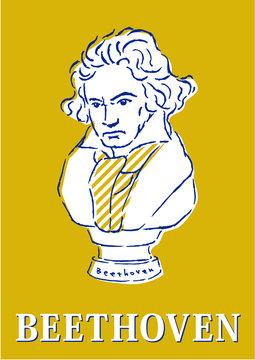 ベートーベン、イラスト、胸像、ポップ