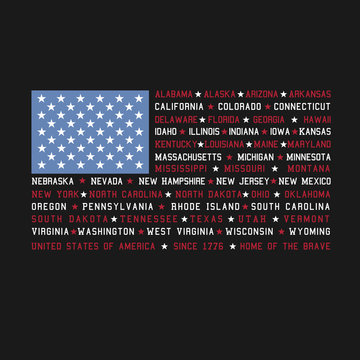 4th of July Fourth Independence Day Patriotic American USA Flag with 50 States listed in place of red and white stripes with stars holiday