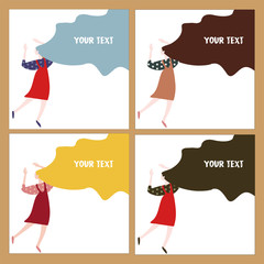 Vector colorful cute illustrations of girl. Back view little girls isolated. Picture of young happy woman with hands up.