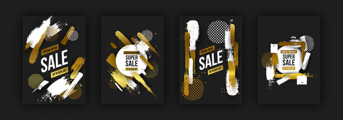 Luxury sale background set in gold and black color