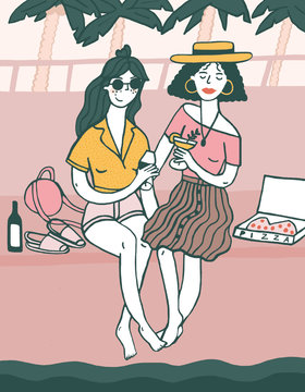 2 women meet for a wine down by the water illustration