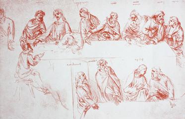 Sketch of last supper by Leonardo da Vinci in the vintage book Leonardo da Vinci by A.L. Volynskiy, St. Petersburg, 1899