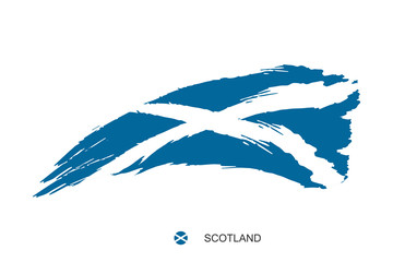 Watercolor painting SCOTLAND national flag. Grunge brush stroke scottish Independence day Saint Andrew's Cross nation white symbol - Vector abstract illustration