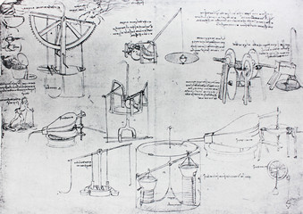 The mechanisms. Atlantic code 7 verso a. By Leonardo Da Vinci in the vintage book Leonardo da Vinci by A.L. Volynskiy, St. Petersburg, 1899
