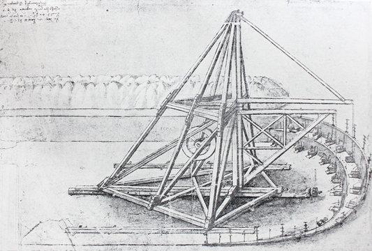 The water mechanism. Atlantic code 1 verso b. By Leonardo Da Vinci in the vintage book Leonardo da Vinci by A.L. Volynskiy, St. Petersburg, 1899
