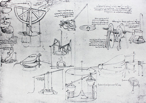 The mechanisms. Atlantic code 7 verso a. By Leonardo Da Vinci in the vintage book Leonardo da Vinci by A.L. Volynskiy, St. Petersburg, 1899