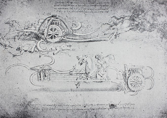 The sketches of weapon of horse with cart and knives by Leonardo da Vinci in the vintage book Leonardo da Vinci by A.L. Volynskiy, St. Petersburg, 1899