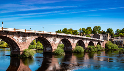 View of west bridge street over River Tay, Perth, Scotland, UK