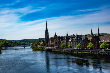 Panoramic view of Perth town. River Tay, Scotland, UK.