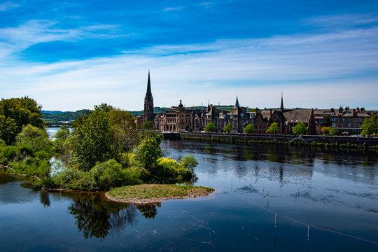 Panoramic view of Perth town. River Tay, Scotland, UK.