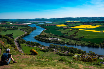 Panoramic view from Kinnoull Hill (Perth, Scotland, UK)