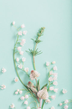 wild flowers on green paper background