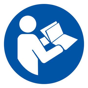 Refer Instruction Manual Booklet Symbol Sign,Vector Illustration, Isolated On White Background Label. EPS10