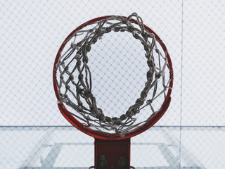 Basketball hoop and netting View from below