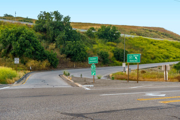California 57 freeway entrance in on South Brea Canyon Road