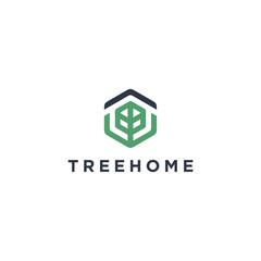 hexagon tree home logo design Template