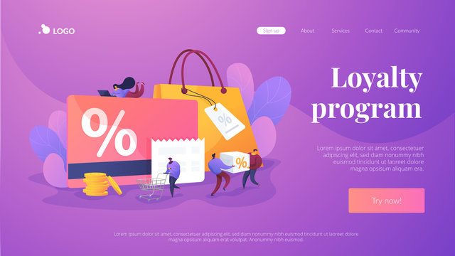Discount and loyalty card, loyalty program and customer service, rewards card points concept. Website homepage header landing web page template.