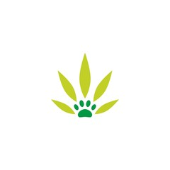 pet paw cannabis leaf logo vector icon illustration