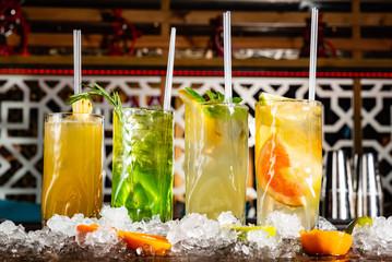 summer lemonades in the glasses