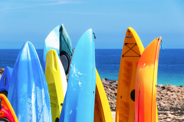 Colorful Surfboards on the beach