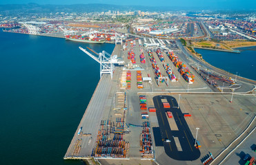 Oakland Harbor port terminal with shipping containers and cranes Wall mural