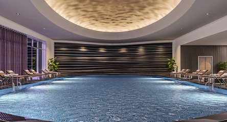 Modern interior design of indoor swimming pool with pool beds, night scene, hotel resort, spa, high contrast, dark, 3d illustration, 3d rendering Wall mural