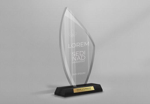 Etched Glass Trophy Award Mockup