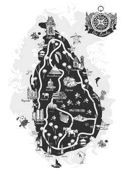 Sri Lanka drawing map