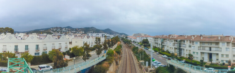 Train railway track near of Barcelona. Spain