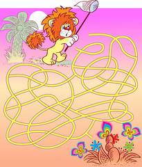 Puzzle maze with lion cub that needs help to catch butterflies. Vector illustration for educational and entertainment programs for children.