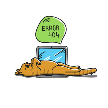 Red cat sleeping on the laptop. Eror 404 page not found conceptual idea with laying cat. Drawing cartoon vector illustration.
