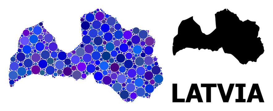 Blue Circle Mosaic Map of Latvia