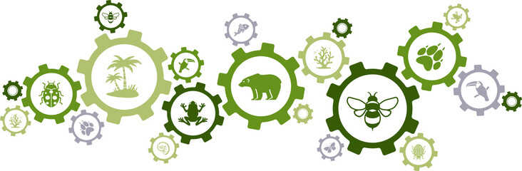 Obraz biodiversity icon concept – endangered species & wildlife icons, vector illustration - fototapety do salonu