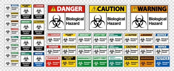 Set Biological Hazard Symbol Sign Isolate On White Background,Vector Illustration