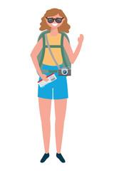 Tourist girl cartoon with bag design