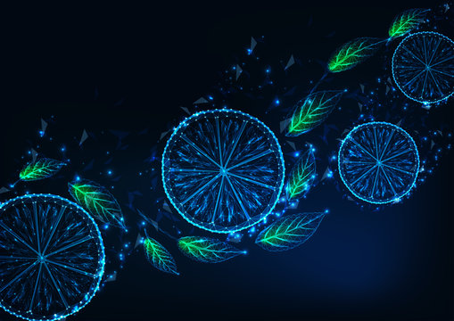 Futuristic background with glowing low poly lemon slices, green mint leaves, on dark blue .