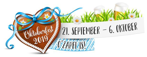 Oktoberfest 2019 Banner mit Lebkuchenherz, Bier und Datum Termin