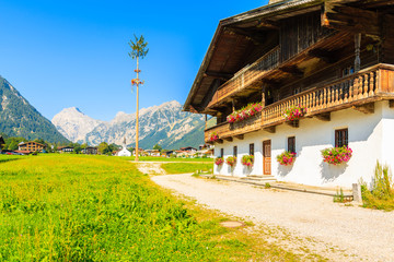Wall Mural - Green meadow with typical mountain house in Pertisau town in summer season, Achensee lake, Tirol, Austria