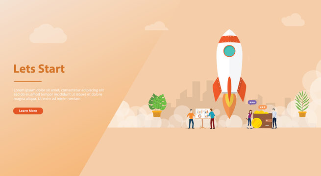 lets start big words concept with team people and rocket startup launch business for website template banner or landing homepage - vector