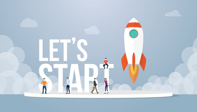 lets start big words concept with team people and rocket startup launch business with team people and smoke with modern flat style - vector