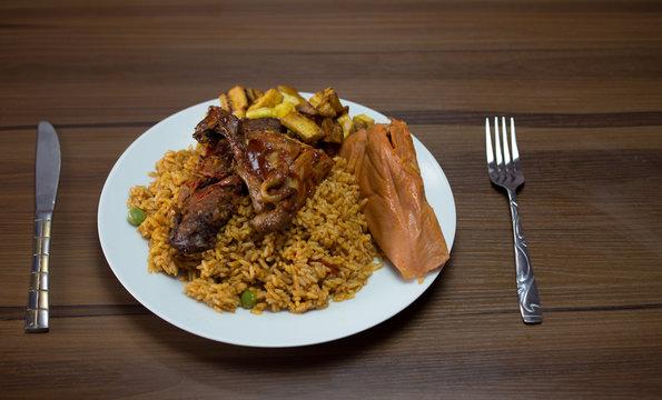 fried rice, jollof rice and moi moi
