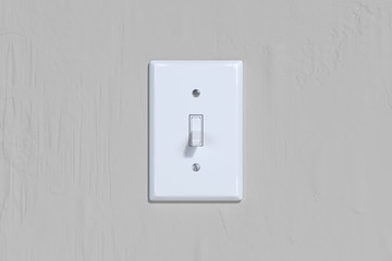 On and Off switch. Light switch on bright wall. 3d rendering.
