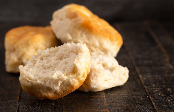 Buttermilk Biscuits on a Rustic Wooden Table