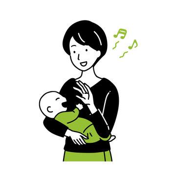 Mother raising baby.