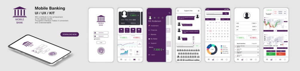 Mobile Banking App, UI, UX, KIT. A set of - Mockups screens for mobile banking or website with different GUI. (Login, payment detailed data statistics, money transfers and transactions, chat support) Wall mural