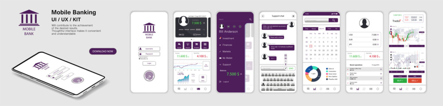 Mobile Banking App, UI, UX, KIT. A set of - Mockups screens for mobile banking or website with different GUI. (Login, payment detailed data statistics, money transfers and transactions, chat support)